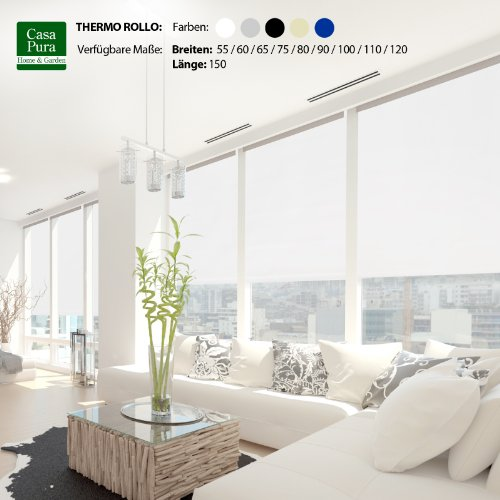 casa pura® Verdunkelungsrollo mit drei flexiblen Befestigungsarten in neun Größen   Weiß   80x150cm