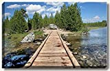 20 x 30 inch large gallery wrapped canvas fine art landscape photograph of wooden bridge at a tranquil forest lake at Grand Tetons National Park, Wyoming.