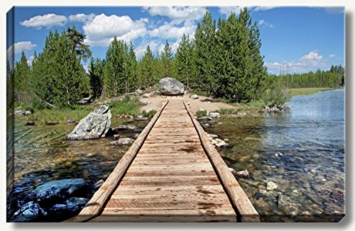 20 x 30 inch large gallery wrapped canvas fine art landscape photograph of wooden bridge at a tranquil forest lake at Grand Tetons National Park, Wyoming. by Bob Estrin Fine Art Photography
