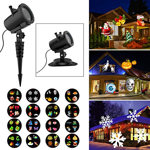 (Halloween Christmas Projector Lights, 16 Slides Waterproof IP65 Outdoor Landscape 6W Motion LED Projection Lights, 16ft Power Cable for Decoration Lighting on Holiday Birthday Wedding Party)