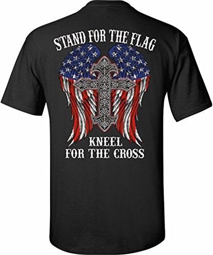 - Patriot Apparel Kneel for The Cross Stand for The Flag Patriotic T-Shirt (Medium, Black)