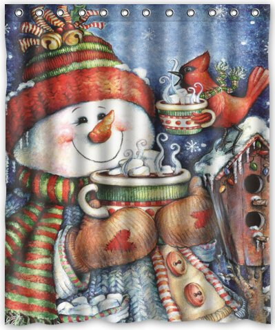 Snowman and Cardinals Theme Print 100% Polyester Bathroom Shower Curtain Shower Rings Included