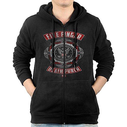 YESOPAOPAO Five Finger Death Punch American Capitalist Logo Mens Full Zip Hoodie Sweatshirt Black (Five Finger Death Punch American Capitalist Zip)