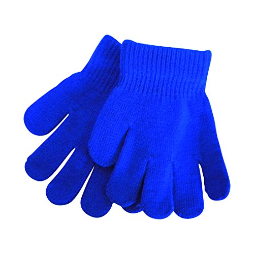 Child Blue Gloves (Blue Kids Gloves Magic Knit Gloves for Girls/Boys Solid Colors)