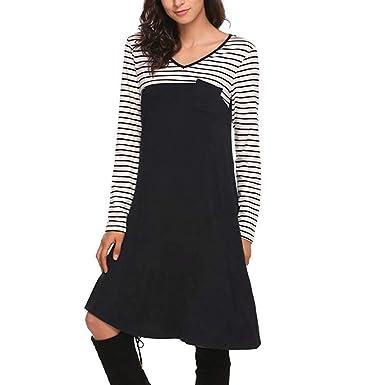 Damen Elegant Kleider T-Shirt Kleid Langarmkleid Hülsen Strandkleid Lose  Einfache Einfarbig Spleiß Streifen Mini Kleidet beiläufige Lange mit  Taschen Frauen ... 6369b7338c
