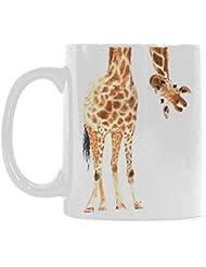 InterestPrint 11 Ounce White Ceramic Watercolor Giraffe Animal Print Funny Travel Coffee Mug Cup with Quotes Sayings, African Wildlife Safari Coffee Mug Christmas Birthday Gifts