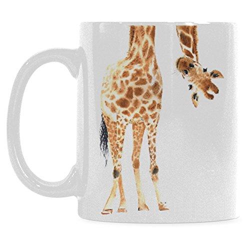 Giraffe Mug (InterestPrint 11 Ounce White Ceramic Watercolor Giraffe Animal Print Funny Travel Coffee Mug Cup with Quotes Sayings, African Wildlife Safari Coffee Mug Christmas Birthday Gifts)