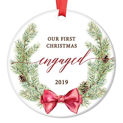 Our First Christmas Engaged Ornament 2019 Seasonal Evergreen Wreath Porcelain Keepsake 1st Holiday Engagement Gift Future Bride & Groom 3