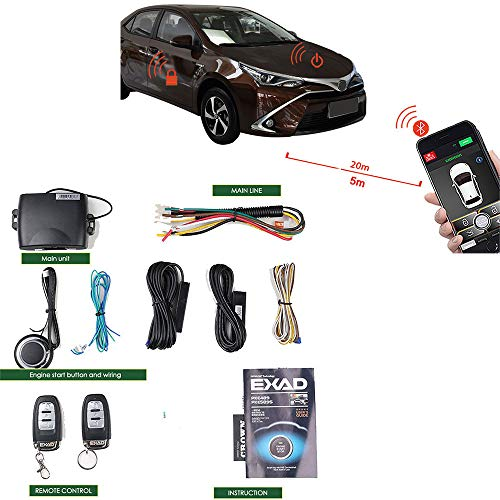 Remote Start Car Kit Phone 2-Way Keyless Entry Car Alarm System & Securit PKE Central Lock Locking System With Two Remote Car Starter (Cost Of Central Locking System For Cars)