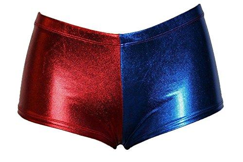 FK Styles Damen Kurze Hosen Harley Quinn Selbstmord Kader Multi Farbe Hot Sexy (SM = 36-38, Blau/Rot)