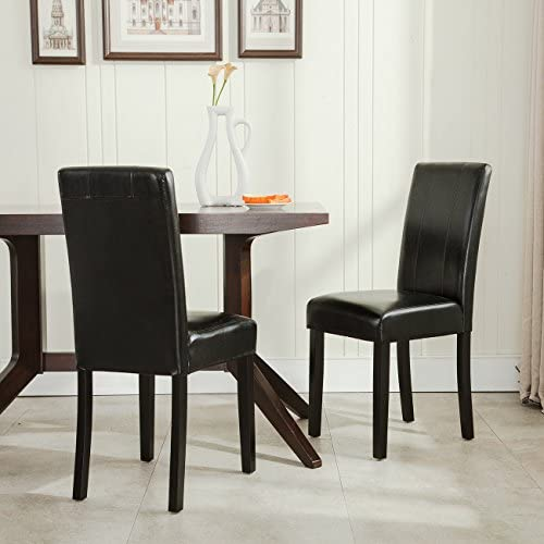 BELLEZE Leatherette Black Padded Parson Style Chair Dining Set Furniture Set of 2