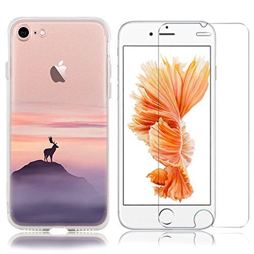 iPhone 6 Plus Cover (5.5), iPhone 6S Plus Custodia ,Bonice Morbido Ultra Slim Soft TPU Paesaggio Scenario Case + 1x Protezione Dello Schermo Screen Protector ,pecora