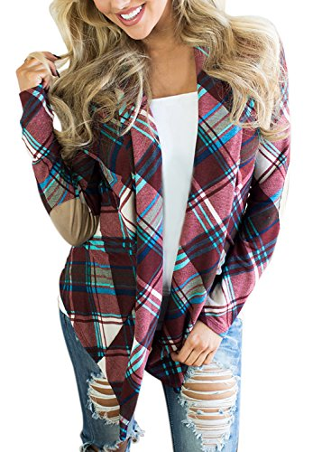 (Asvivid Womens Draped Open Front Plaid Print Elbow Patch Knitted Cardigan Sweater Plus Size 1X Purple)