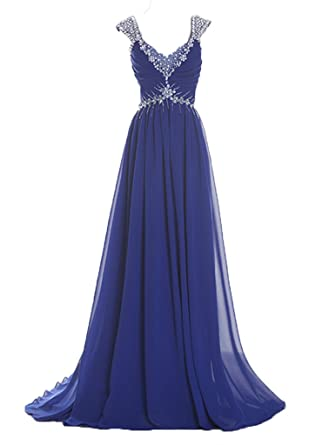 Fanciest Womens Cap Sleeve Crystal Evening Dresses Long Prom Gowns Royal Blue UK6
