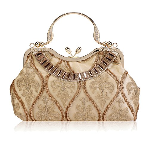 Damara Lock Party Kiss Layer Tote Mesh Grab Embroidery Gold Top Womens rqRF8r