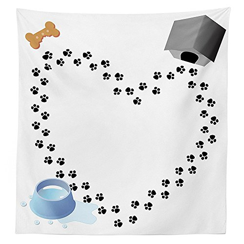 Bee Trail Sunflower (Dog Lover Decor Tablecloth Puppy Love Heart Shaped Trail of Paw Prints Dog House Kennel Bone Water Drops Dining Room Kitchen Rectangular Table Cover)
