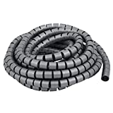 uxcell 20mm x 6.5m Flexible Spiral Tube Cable Wire Wrap Computer Manage Cable Gray