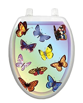 Butterfly Dreams Toilet Tattoo TT-1022-O Elongated Summertime Theme Cover Bathroom