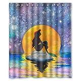 abigai The Little Mermaid Custom Printed Waterproof fabric Polyester Bath Curtain Bathroom Decor Shower Curtain 66'(w) x 72'(h)