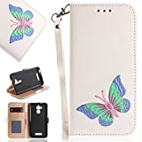 Asus ZenFone 3 Max ZC520TL Case, UNEXTATI Butterfly Embossing Design PU Leather Flip Wallet Cover Case with Card Holder for Asus ZenFone 3 Max ZC520TL (White #8)