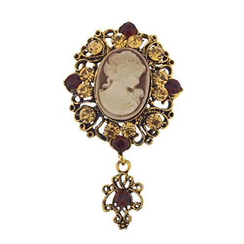 Lux Accessories Antique Vintage Brown Cameo Brooch Burnished Gold paver Stones (Vintage Gold Brooch White)