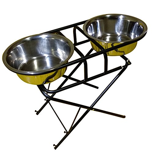BobbyPet Adjustable Raised Double Stainless Steel Dog Diner Bowls. 3-Stage Height Elevated Standing with 1.6QT Dual Dog Dish,XL size - large (Dog Standing)