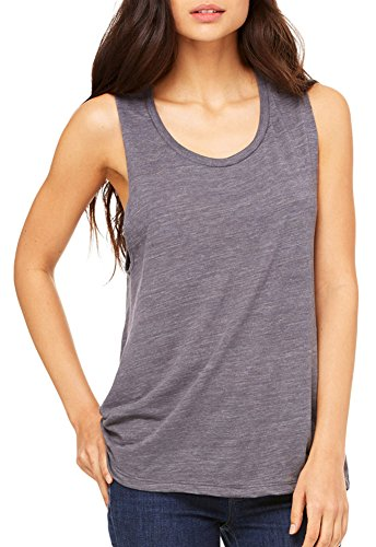 Bella + Canvas Ladies' Flowy Scoop Muscle Tank, Asphalt Slub, ()