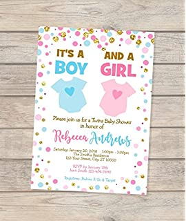 Amazon baby shower invitations chalkboard carriage vintage twins blue and pink baby shower invitation boy and girl twins baby shower invitations filmwisefo