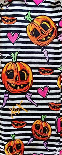 Betsey Johnson Girly Halloween Pumpkin Black & White Striped Print - Oversized Ultra Soft Plush Throw Blanket 50 x 70 -