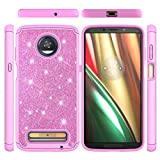 Moto Z3 Play Case, Hybrid Rugged Heavy Duty Shock Absorption Drop Resistant Full Body Dual Layers Shockproof Soft TPU Bumper PC Shell Bling Shiny Glitter Diamonds 2 in 1 Armor Cover Moto Z3 Play