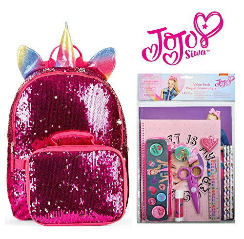 Price comparison product image Jojo Siwa Back To School 11 Piece Set with Backpack for Girls (Shimmer Unicorn)