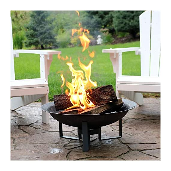 Sunnydaze Modern Fire Pit Bowl with Stand - Portable Outdoor Wood-Burning Patio Fireplace - Cast Iron Firebowl - 23-Inch - LIGHTWEIGHT AND PORTABLE: Outside firepit has a 23.75 inch diameter x 8.5 inches tall; Weighs 12.4 pounds; Fire bowl measures 23.75 inch diameter x 5.5 inches deep x 3.5 millimeters thick; Stand is 6.75 inches tall; Great to take outdoors along on camping trips, to the beach, or backyard barbecues for cooking and socialization WELL-MADE: Small cast iron firebowl cauldron with high-temperature paint finish for fire resistance; Stand is made of iron for strength and stability; Safely enjoy the ambiance that a wood-burning fire can add to your backyard or outdoor living space EASY TO ASSEMBLE: Bonfire pit set includes fire bowl and stand for simple assembly; Can be easily put together or taken apart; Simple assembly makes it effortless to store this fire bowl and stand for the winter or during inclement weather - patio, outdoor-decor, fire-pits-outdoor-fireplaces - 51rejJHl5QL. SS570  -