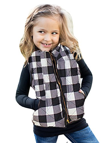 Doubleal Girls Buffalo Cotton Plaid Quilted Vest Cute Puff Lined Gilet (Cotton Plaid Vest)