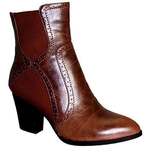 Damen spitz zulaufend Stretch Mittelhoher Absatz Damen Smart Knöchel Absatz Stiefel Braun