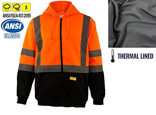 New York Hi-Viz Workwear H6611 Men's ANSI Class 3 High Visibility Sweatshirt, Full Zip Hooded, Black Bottom, Fleece (Orange, Large) ()
