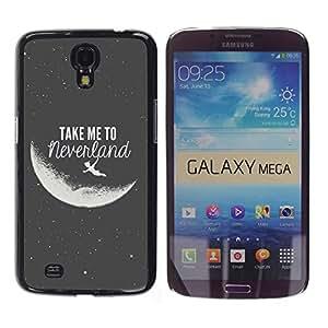 Lléveme a Luna Neverland Negro Blanco- Metal de aluminio y de plástico duro Caja del teléfono - Negro - Samsung Galaxy Mega 6.3