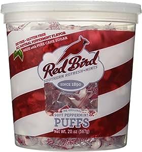 Red Bird 20 Ounce Peppermint Puffs Candy Tub