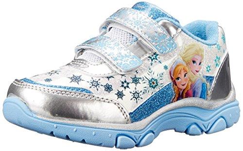 Disney Frozen Elsa and Anna Light-Up Sneaker, White/Blue, 10 M US Toddler
