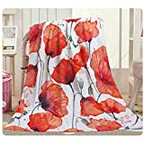 HGOD DESIGNS Poppy Flower Throw Blanket,Watercolor