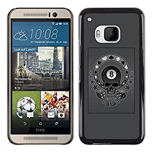 A-type Colorful Printed Hard Protective Back Case Cover Shell Skin for HTC One M9 ( Grey Eight 8 Ball Skull Circus Poker )