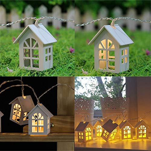H+K+L 1.5M 10 LED European House Shaped String Light, Battery Powered Decoration Fairy Light - Perfect for Home, Party, Wedding,Festivals (Warm White) by H+K+L (Image #1)