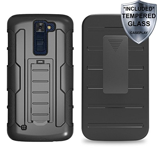 LG K8 Case, Escape 3 Case, Phoenix 2 Case, CASEPLAY Dual Layer Armor With Tempered Glass Screen Protector Full-body Protective Case Cover with Kickstand & Belt Clip Holster Combo (Three Modeled Light)