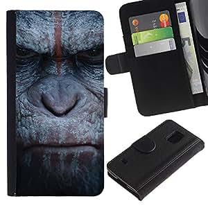 Gorila Mono Primate Animal Naturaleza- la tarjeta de Crédito Slots PU Funda de cuero Monedero caso cubierta de piel Para Samsung Galaxy S5 V SM-G900