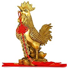 Chinese Zodiac Rooster Year Golden Brass Rooster Collectible Figurines + Free Set of 5 Lucky Charm Ancient Coins on Red String, Chinese Charm of Prosperity Home Decoration Gift,Feng Shui Decor