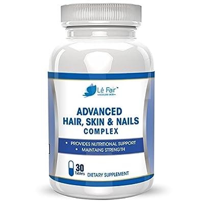 Hair Skin Nails Advanced Formula - Contains Biotin, Bamboo Extract, MSM, and Green Tea Extract to Promote Hair, Nail & Toenail and Eyelash Growth - Skin Health, Anti Wrinkle Pills - All Natural