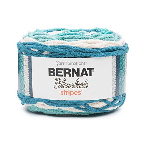 (Bernat Blanket Stripes Yarn, 10.5 oz, Gauge 6 Super Bulky Chunky, Teal Deal)