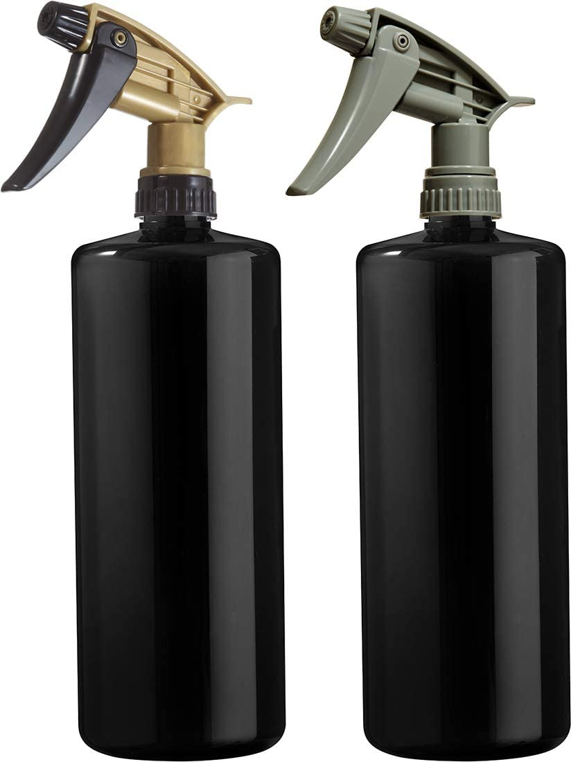 Adjustable Head Sprayer from Fine to Stream Black Bottles with Grey and Black//Gold Sprayers Set Empty Plastic Spray Bottles 32 Oz
