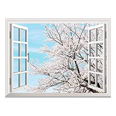 Removable Wall Sticker/Wall Mural - Cherry Blossom in Spring | Creative Window View Home Decor/Wall Decor - 36