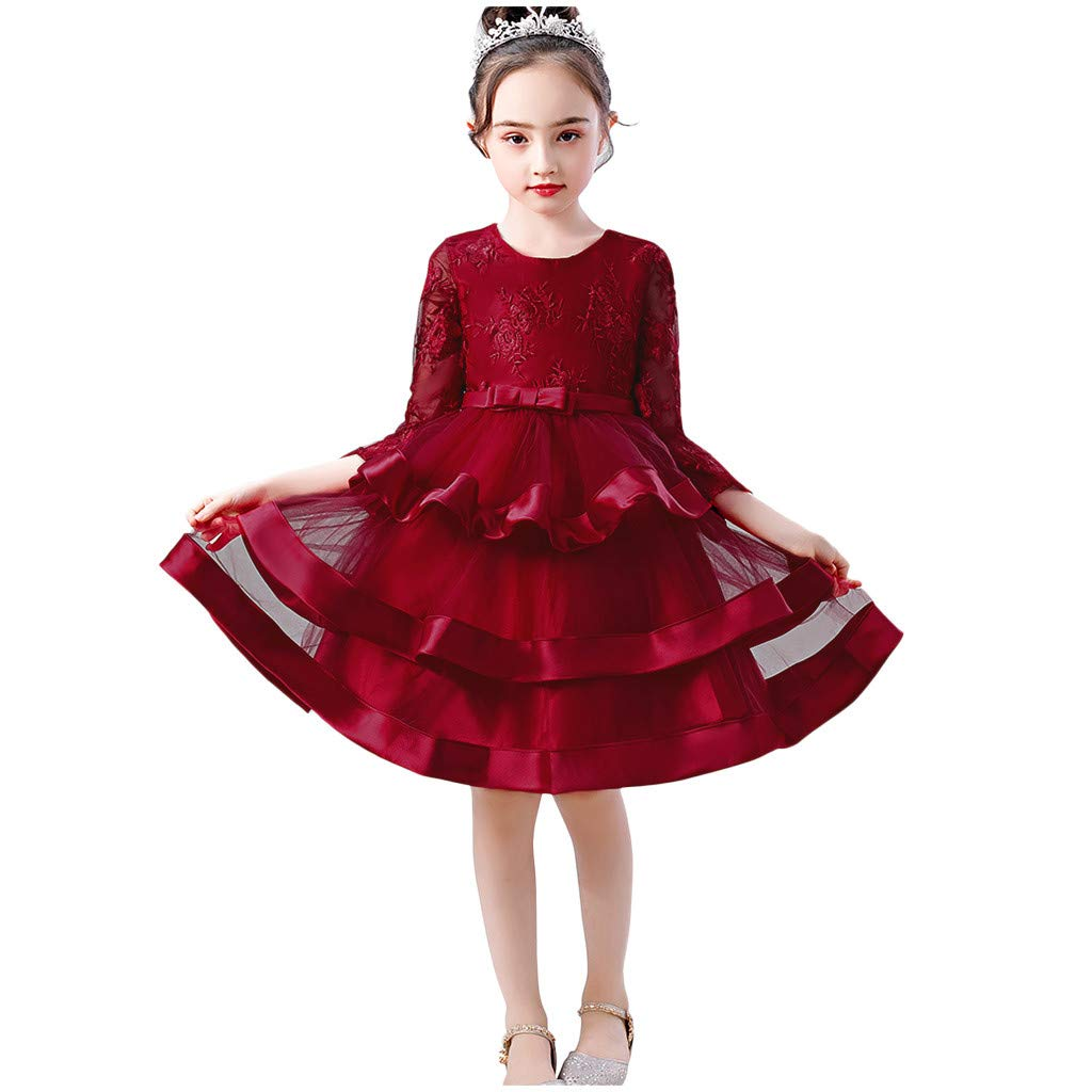 Sameno Girls Embroidery Flower Princess Dress 2-10t Lace Overlay Tulle Bridesmaid Pageant Party Wedding Dance Tutu Gown Red by SamXmasBaby