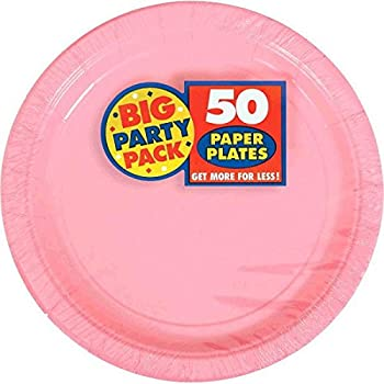 Amscan New Pink Big Party Pack Dinner Plates (50 Count) 1 pink  sc 1 st  Amazon.com : fuschia paper plates - pezcame.com